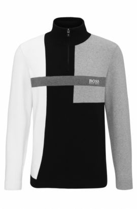 'Zelchior Pro W17' | Colorblock Stretch Cotton Sweater, Black