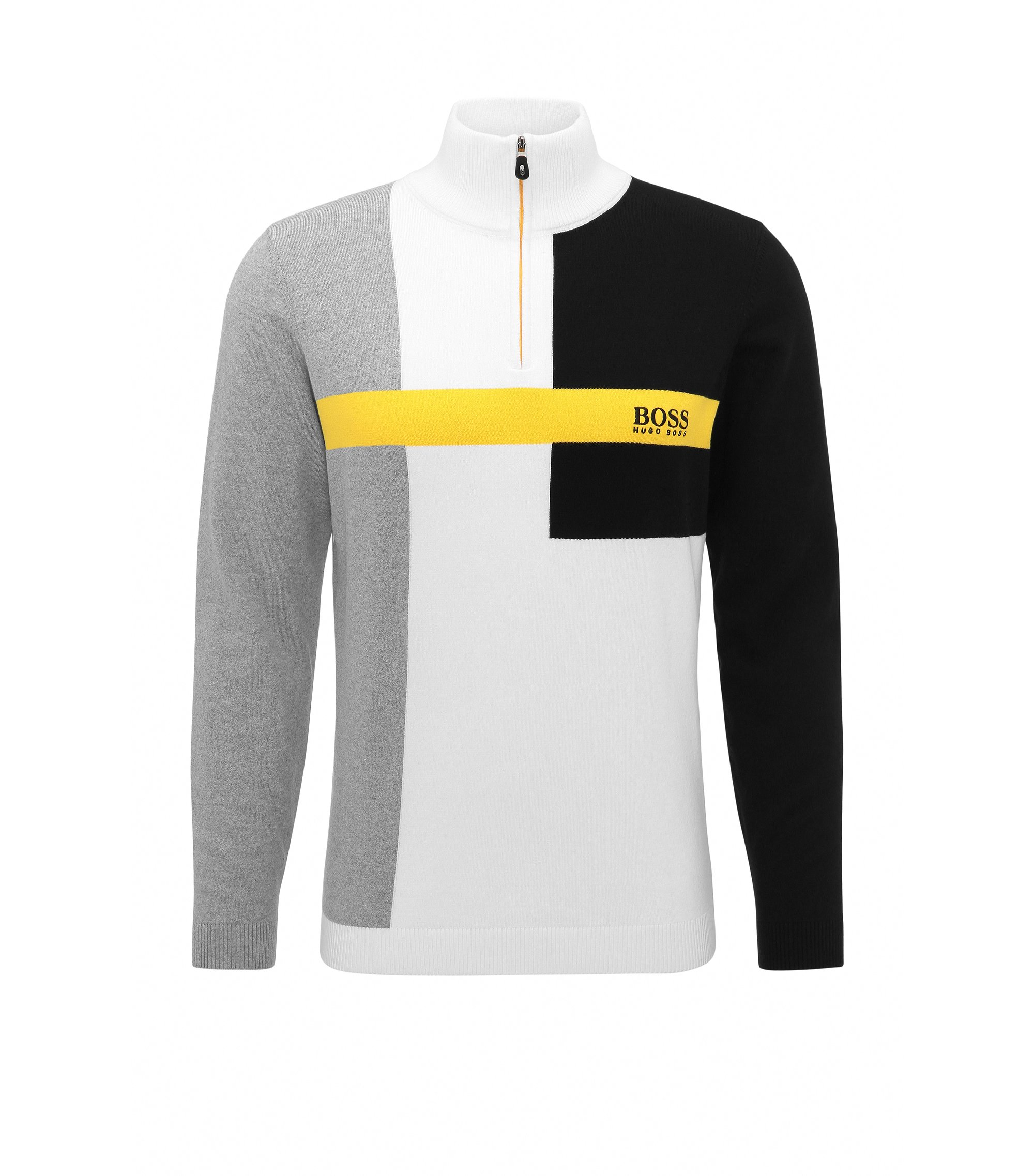 Colorblock Stretch Cotton Sweater   Zelchior Pro W17, White