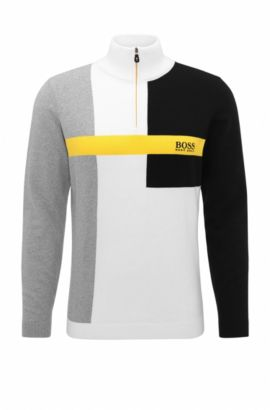 Colorblock Stretch Cotton Sweater | Zelchior Pro W17, White