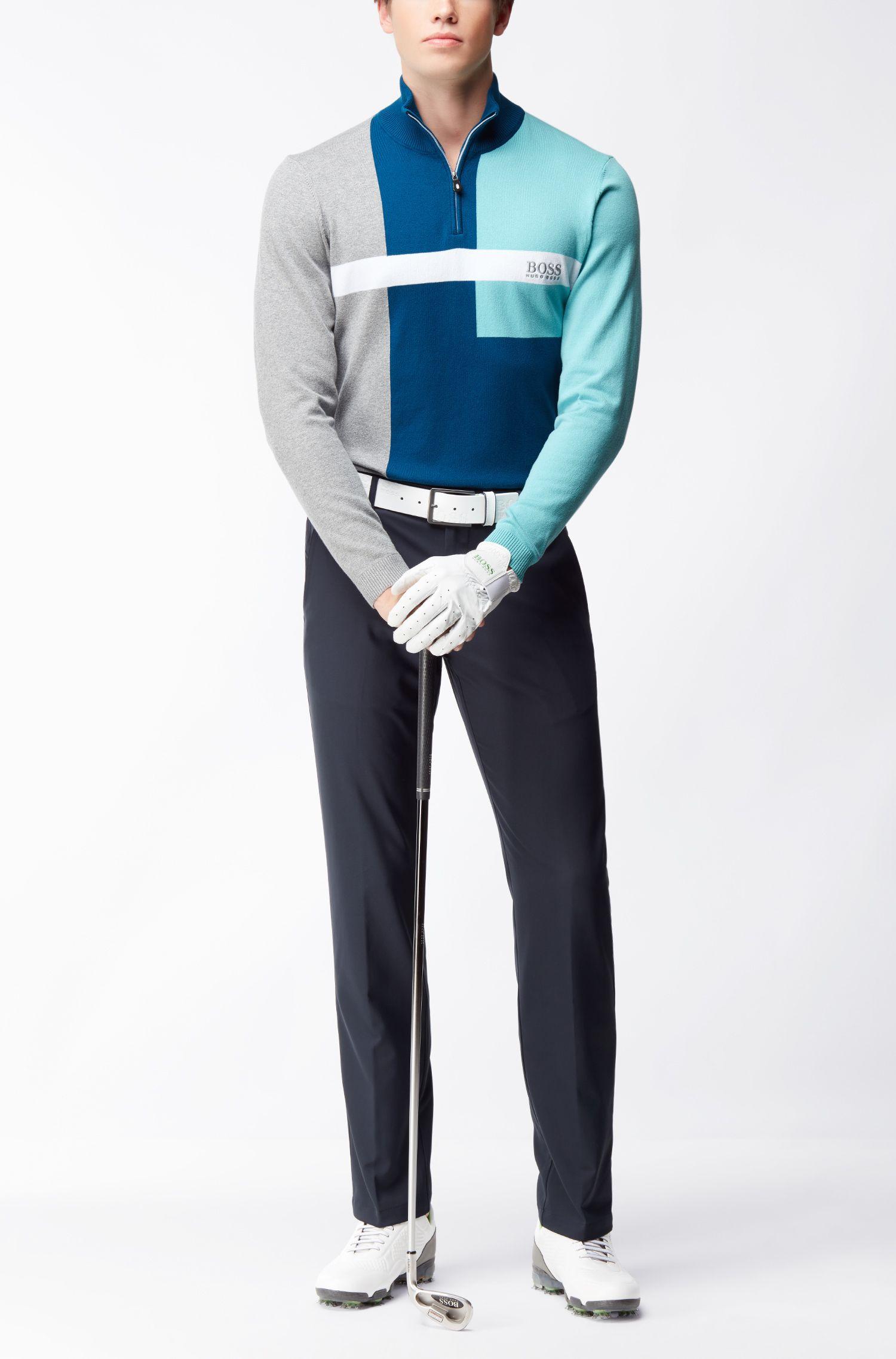 Colorblock Stretch Cotton Sweater   Zelchior Pro W17, Open Blue