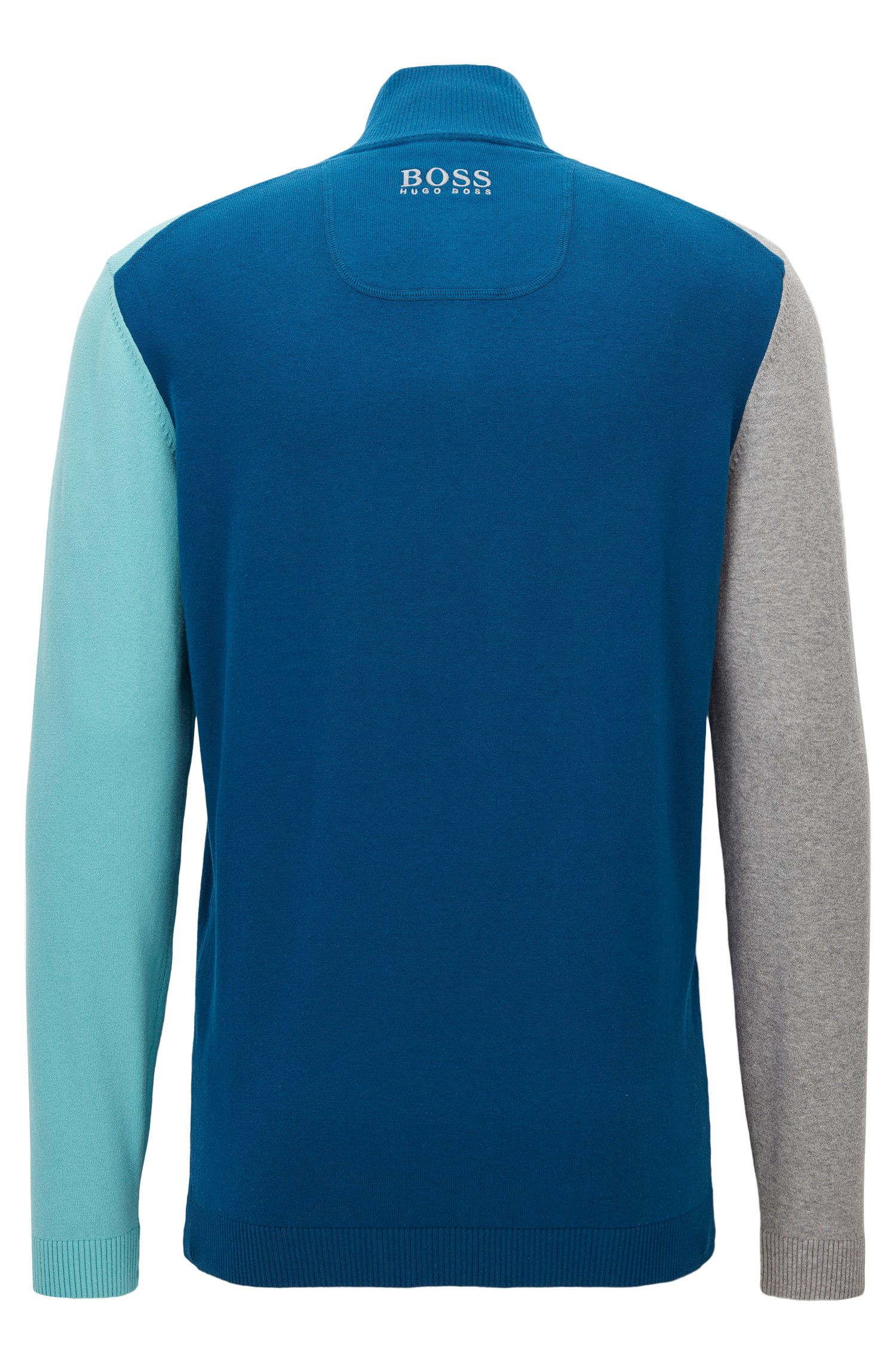 Colorblock Stretch Cotton Sweater | Zelchior Pro W17, Open Blue
