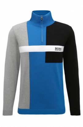 'Zelchior Pro W17' | Colorblock Stretch Cotton Sweater, Open Blue