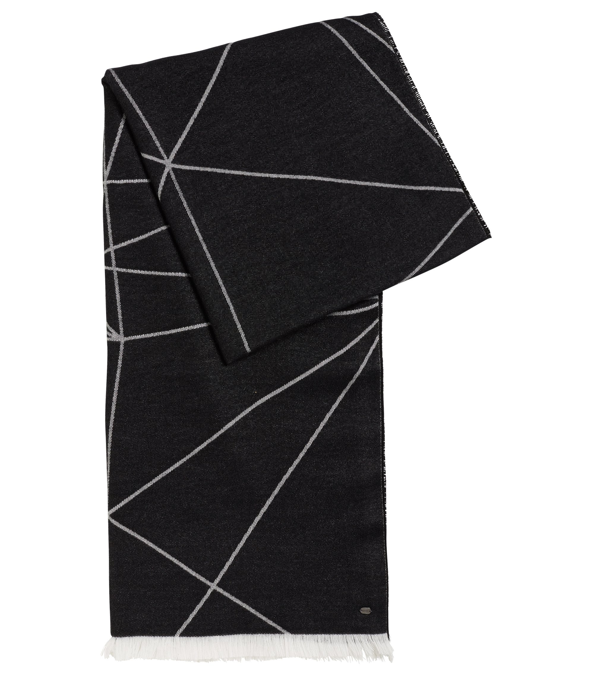 Geo-Print Stretch Cotton Scarf | Scarf Jacquard, Black