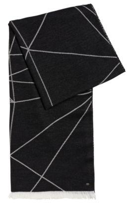 'Scarf Jacquard' | Geo-Print Stretch Cotton Scarf, Black