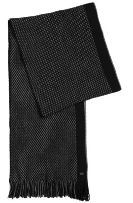 'C-Fadon' | Knit Virgin Wool Scarf, Black