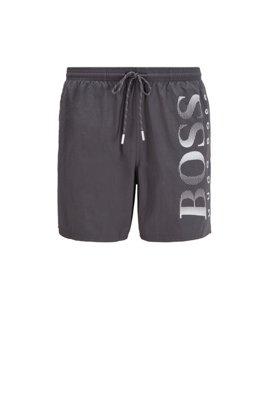 Logo-print swim shorts in technical fabric, Grey