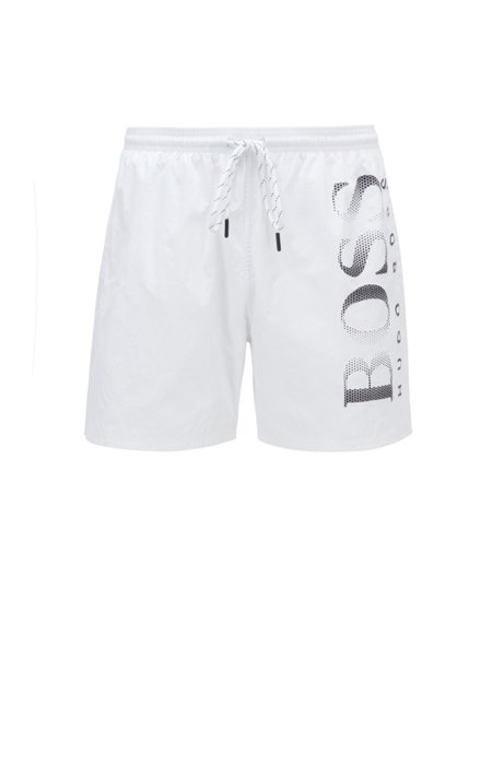 Logo-print swim shorts in technical fabric, White