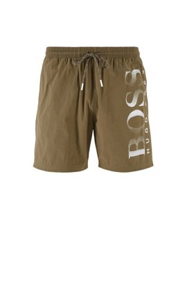 Logo-print swim shorts in technical fabric, Dark Brown