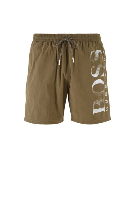 Logo-print swim shorts in technical fabric, Dark Brown