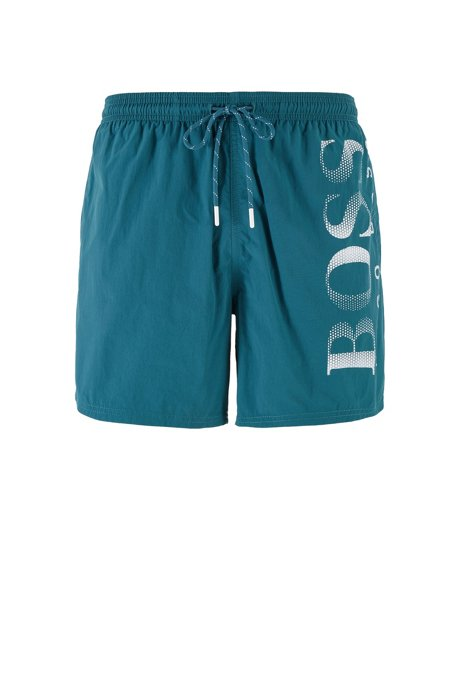 Logo-print swim shorts in technical fabric, Dark Green