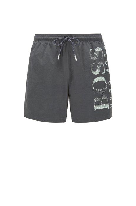 Logo-print swim shorts in technical fabric, Dark Green