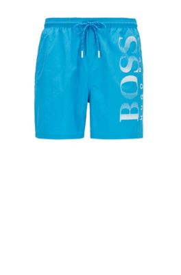 Logo-print swim shorts in technical fabric, Blue