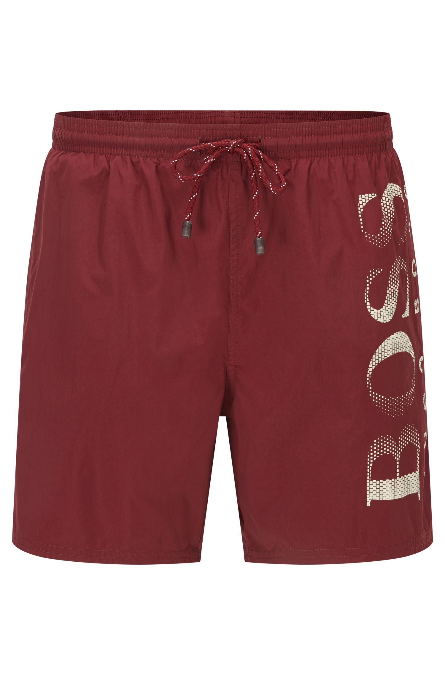 Logo-print swim shorts in technical fabric, Dark Red