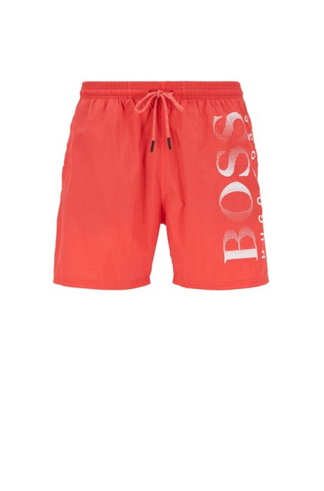 Logo-print swim shorts in technical fabric, Light Red
