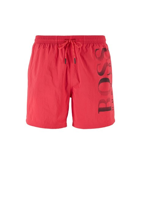 Logo-print swim shorts in technical fabric, Pink