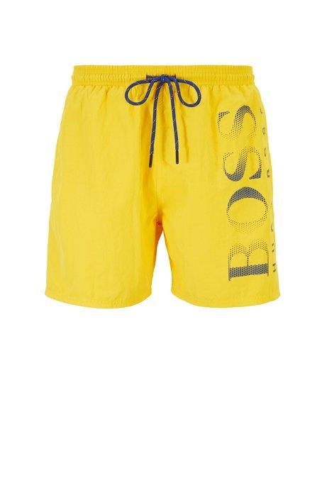 Logo-print swim shorts in technical fabric, Gold
