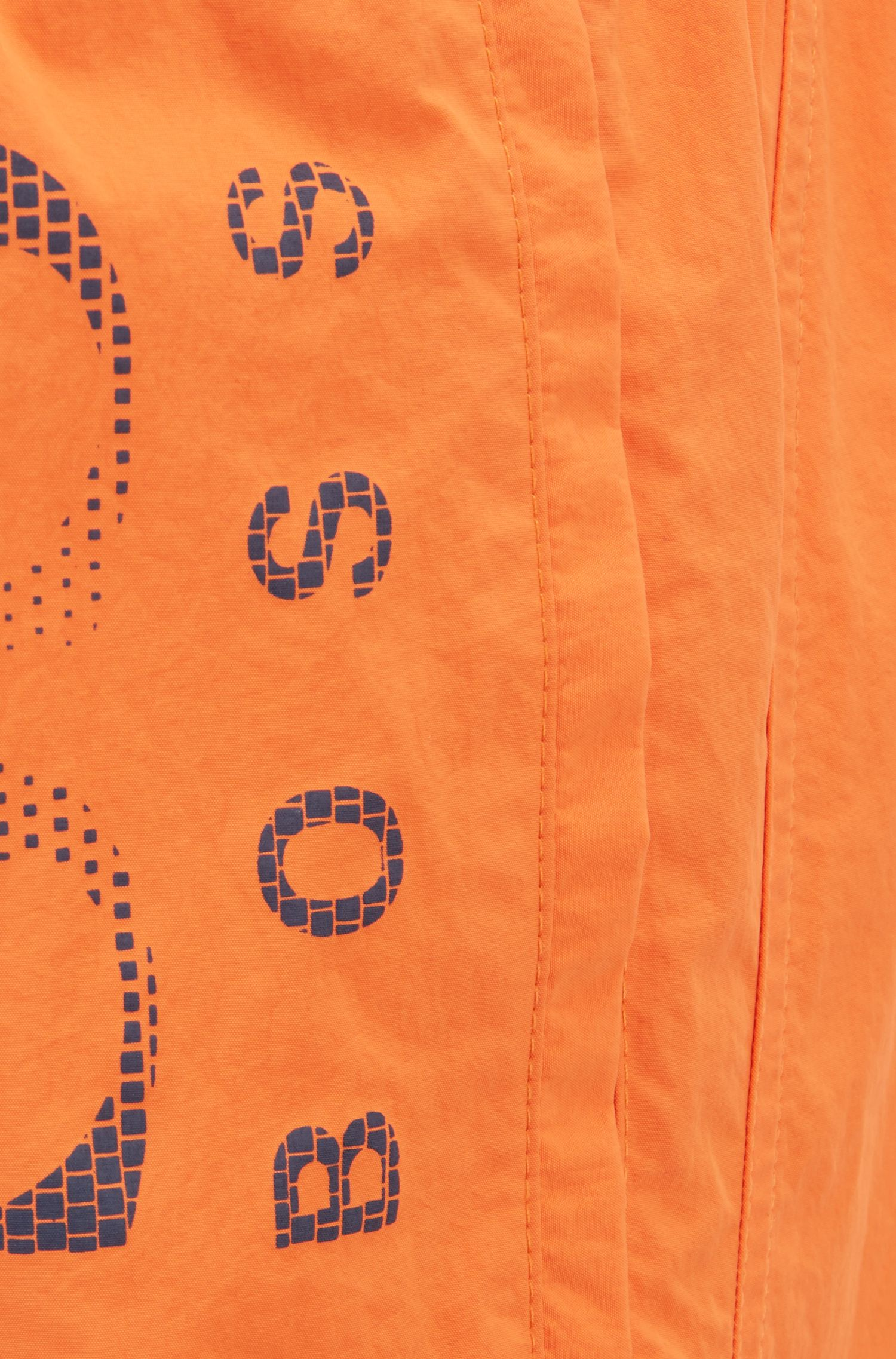 Logo-print swim shorts in technical fabric, Orange
