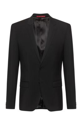 Extra-slim-fit jacket in virgin-wool stretch poplin, Black
