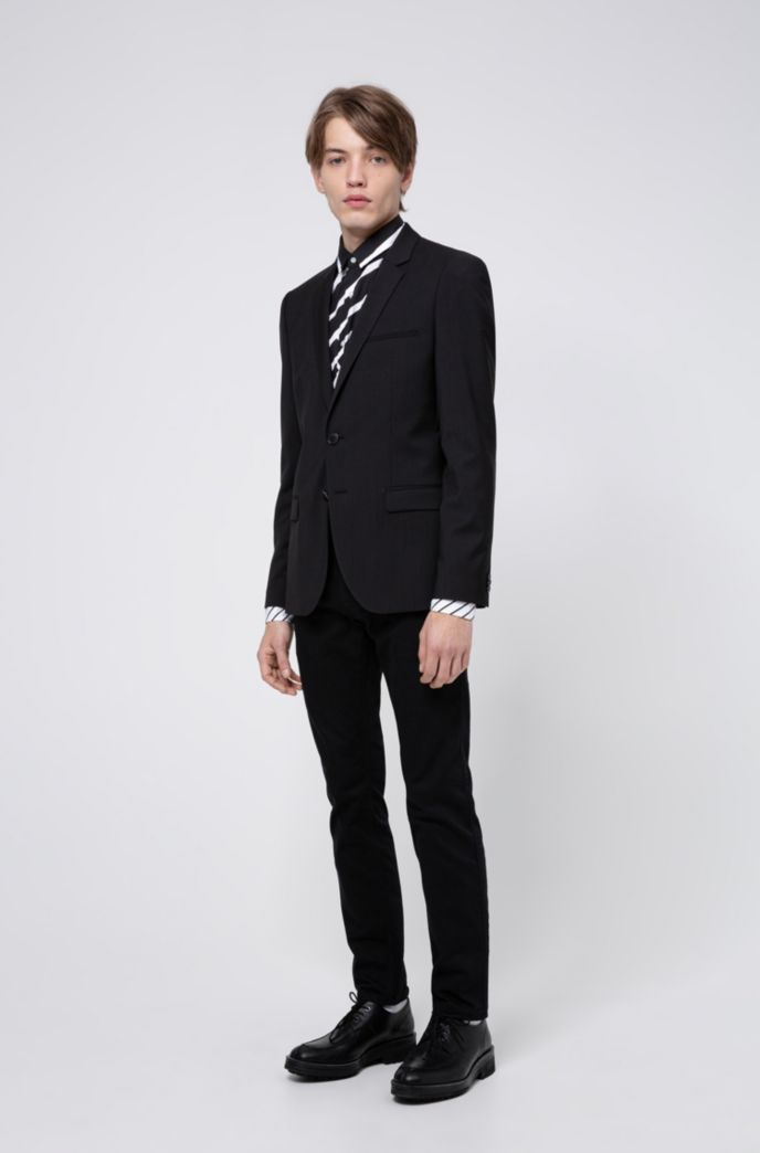 Extra-slim-fit jacket in virgin-wool stretch poplin