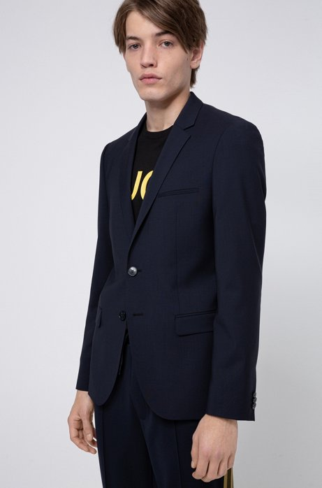 Extra-slim-fit jacket in virgin-wool stretch poplin, Dark Blue