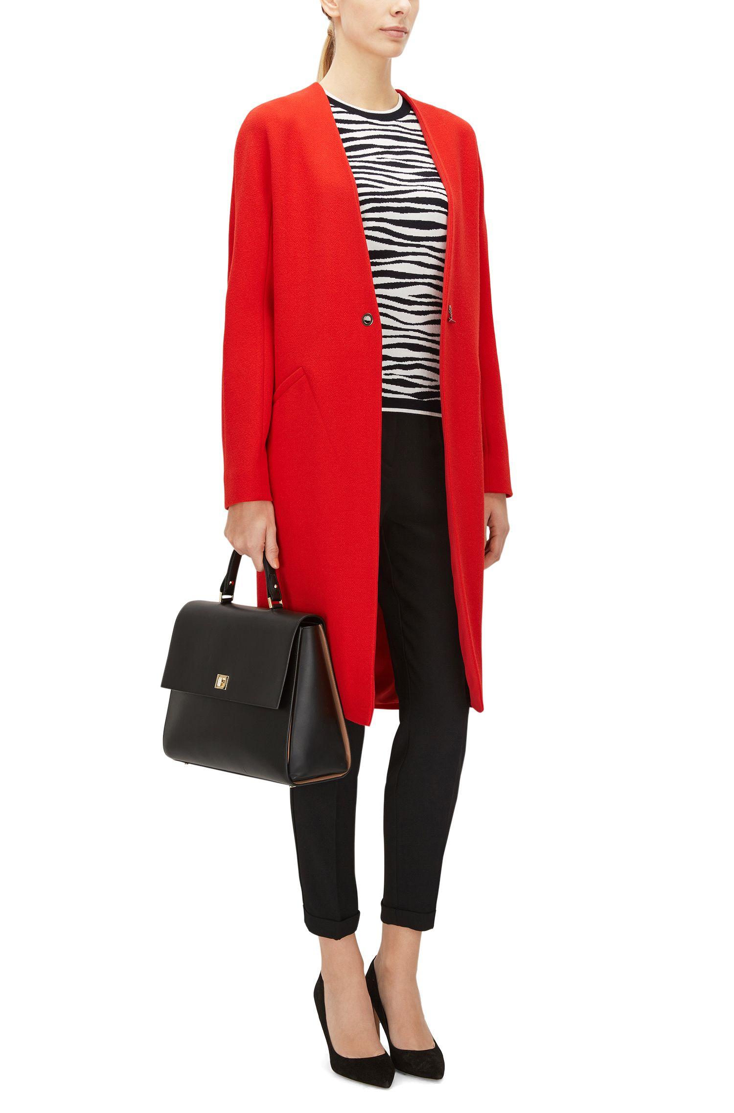 Zebra Striped Italian Stretch Viscose Jacquard Sweater | Fatima