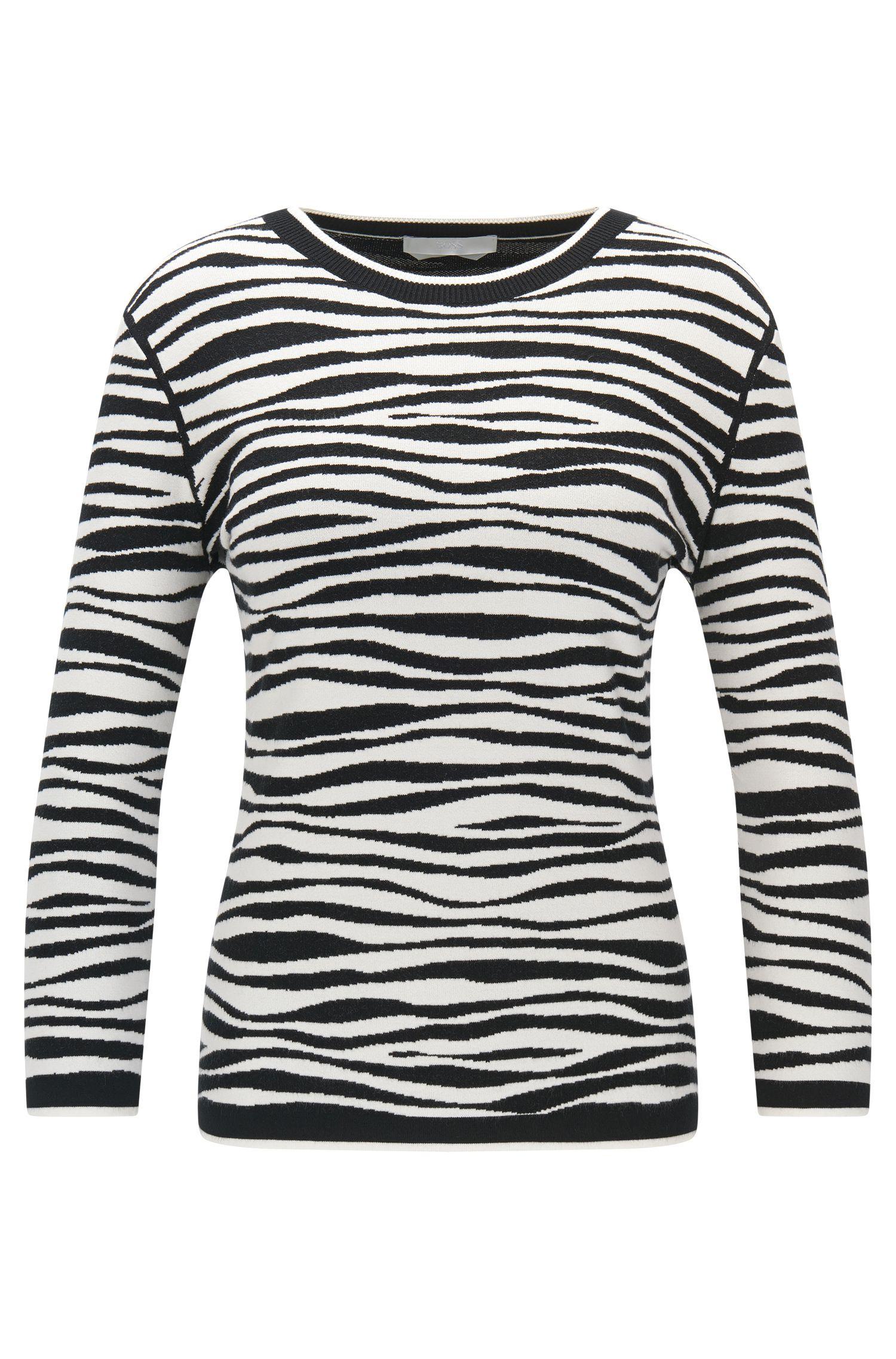 'Fatima' | Zebra Striped Italian Stretch Viscose Jacquard Sweater