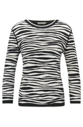 'Fatima' | Zebra Striped Italian Stretch Viscose Jacquard Sweater, Patterned