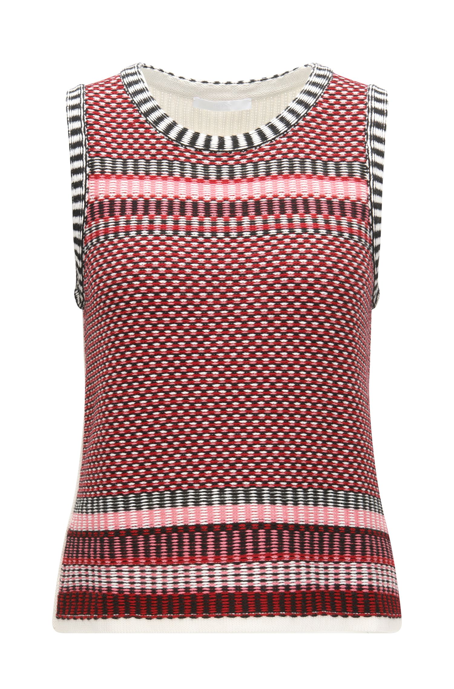 Basketweave Cotton Silk Cashmere Vest | Fortuna