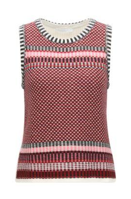 'Fortuna' | Basketweave Cotton Silk Cashmere Vest, Patterned