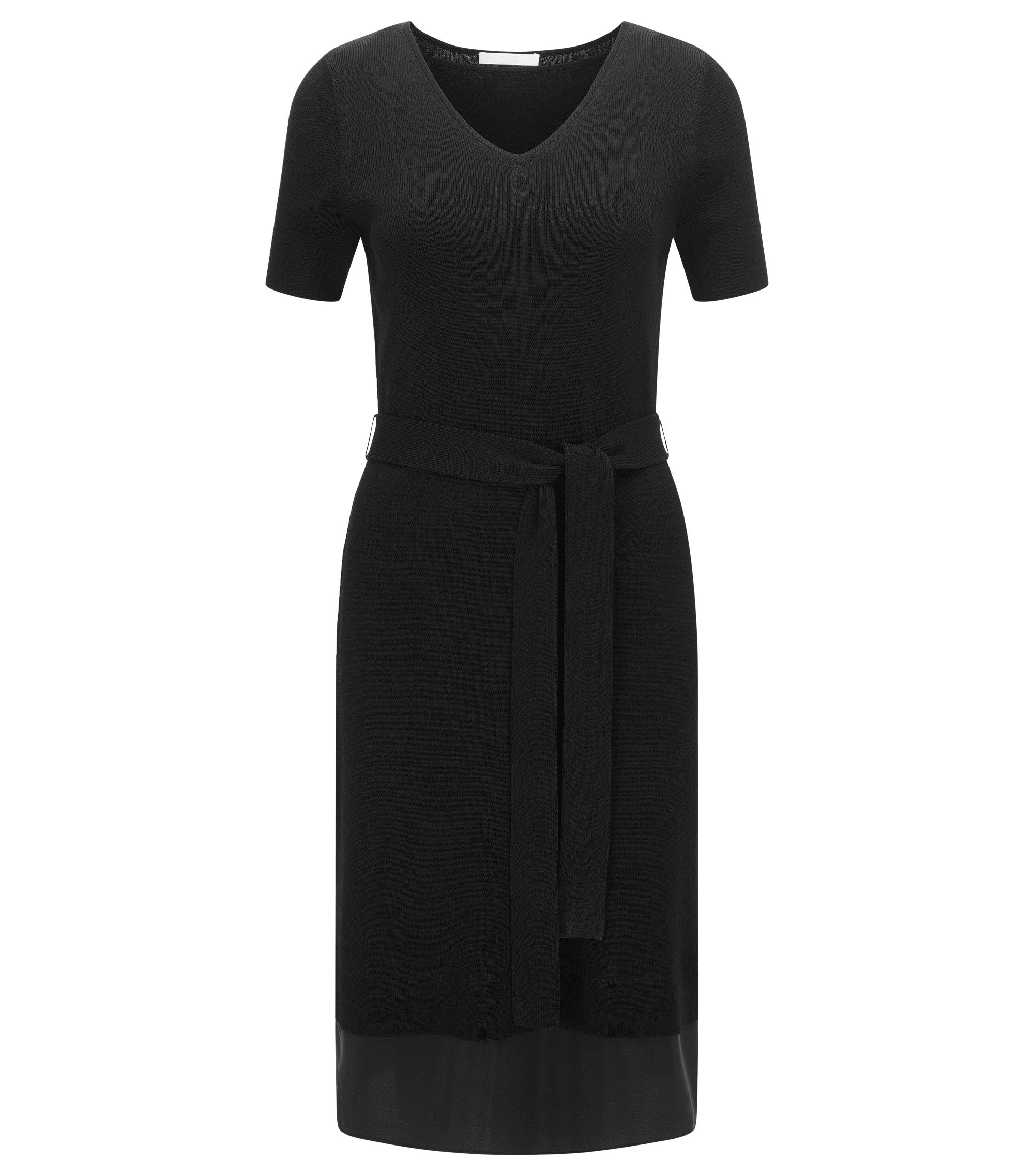 Stretch Cotton Knit Dress | Faia, Black