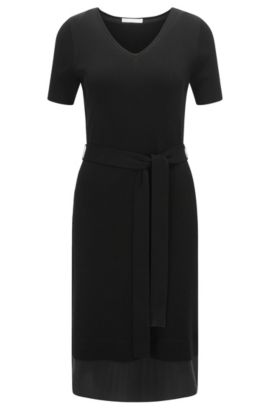'Faia' | Stretch Cotton Knit Dress, Black