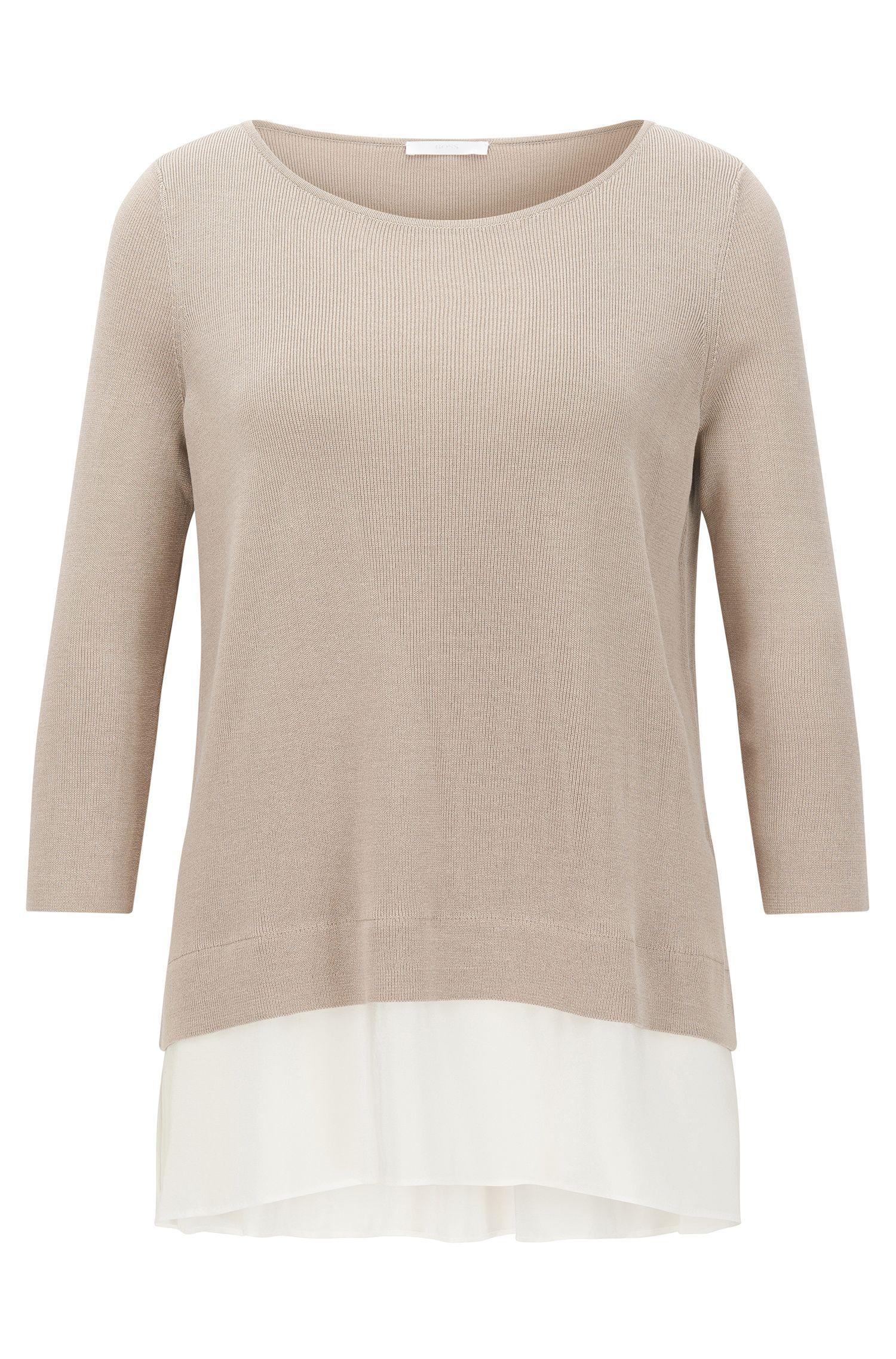 'Filia' | Silk Trim Stretch Cotton Blend Top