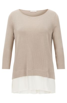 Silk Trim Stretch Cotton Blend Top | Filia, Beige