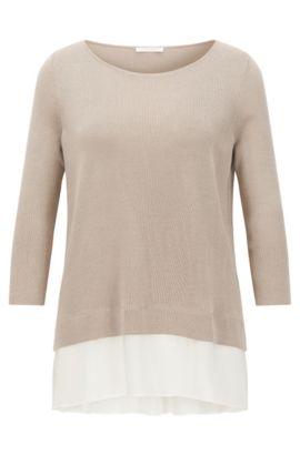 'Filia' | Silk Trim Stretch Cotton Blend Top, Beige