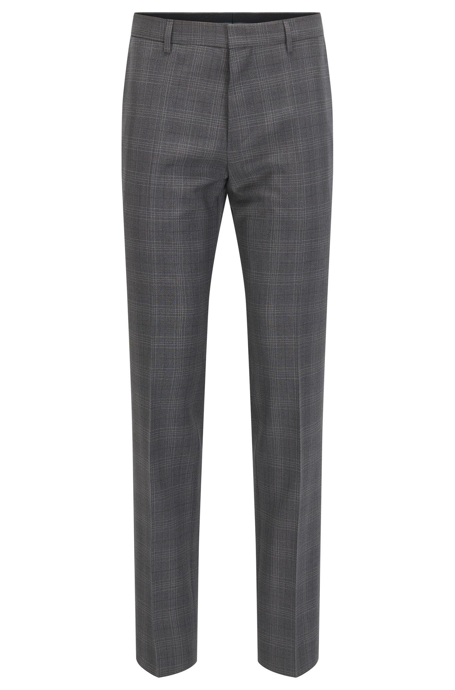 Glen Check Virgin Wool Dress Pant, Slim Fit | Genesis, Charcoal