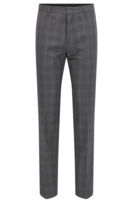 Glen Check Virgin Wool Dress Pant, Slim Fit | Genesis, Charcoal