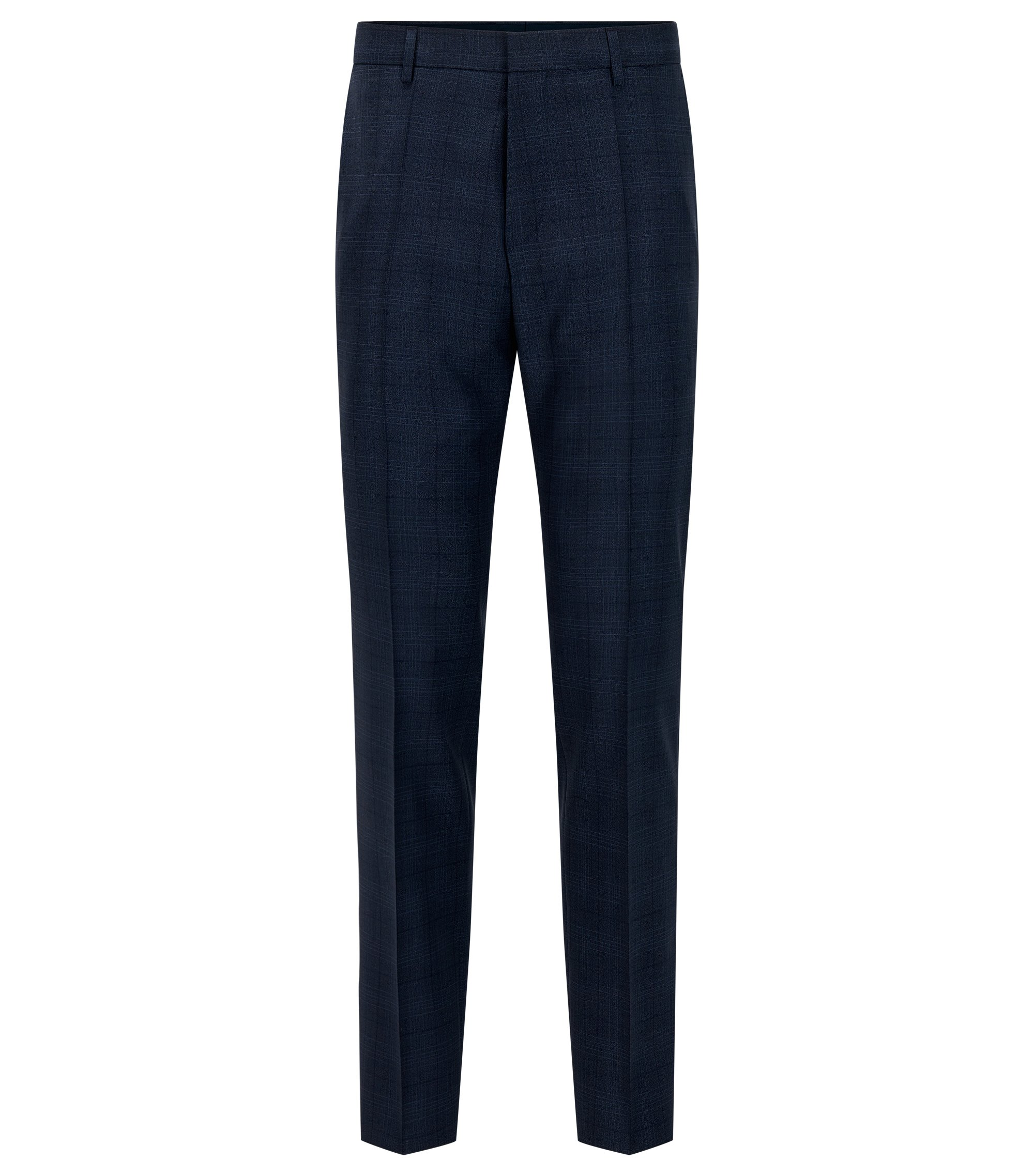 Glen Check Virgin Wool Dress Pant, Slim Fit | Genesis, Dark Blue