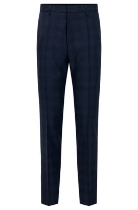 'Genesis' | Slim Fit, Glen Check Virgin Wool Dress Pants, Dark Blue
