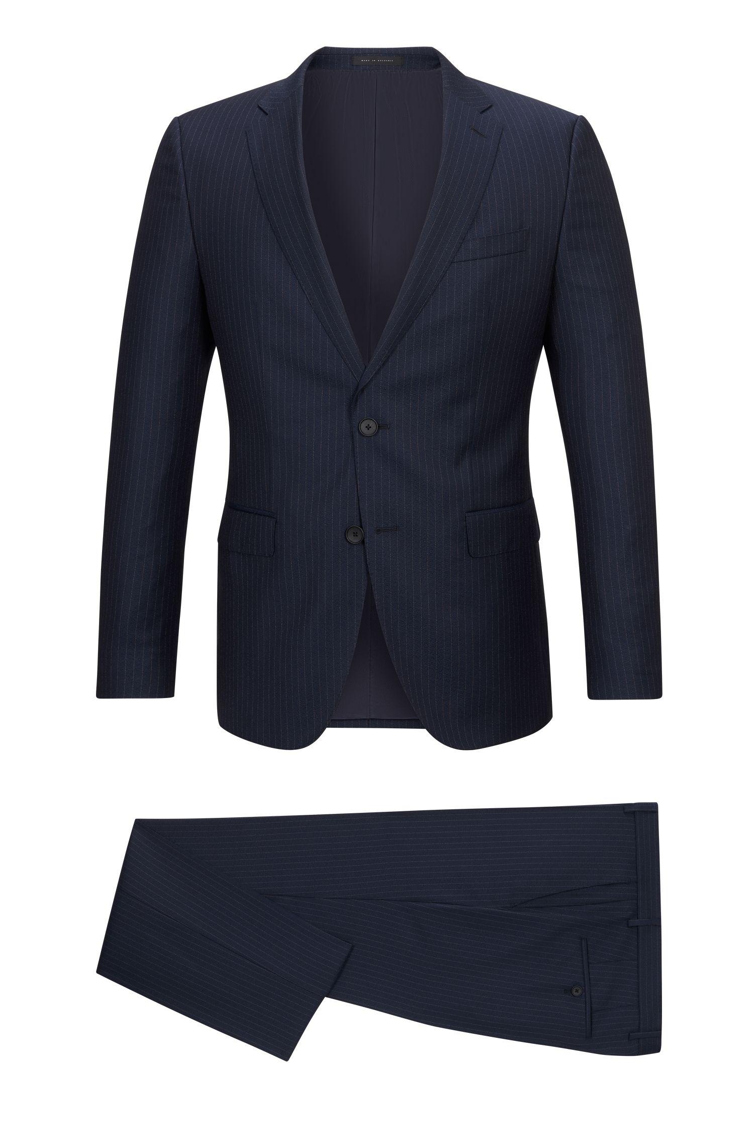 Virgin Wool Suit, Slim Fit   Novan/Ben, Dark Blue