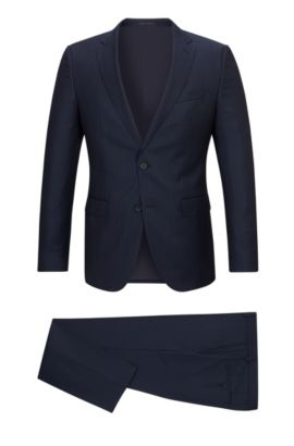 Virgin Wool Suit, Slim Fit | Novan/Ben, Dark Blue
