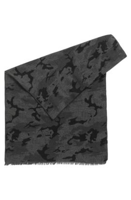 Camouflage Cotton Jacquard Scarf | Net, Black
