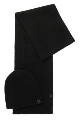 Stretch Wool Scarf & Beanie | N Set, Black