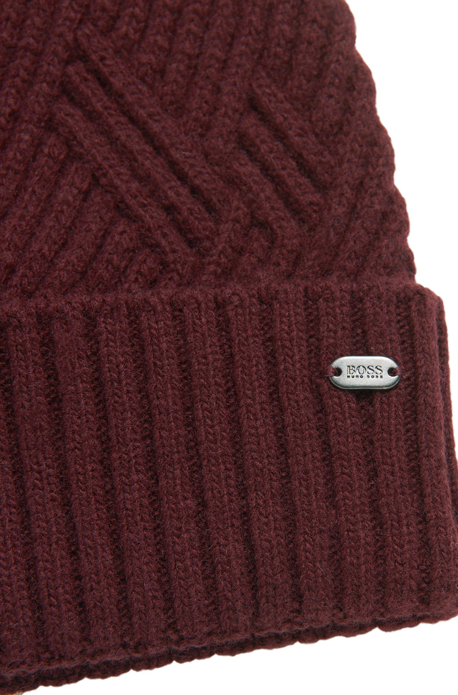 'Beanie Cableknit' | Wool Blend Cable Knit Beanie, Red