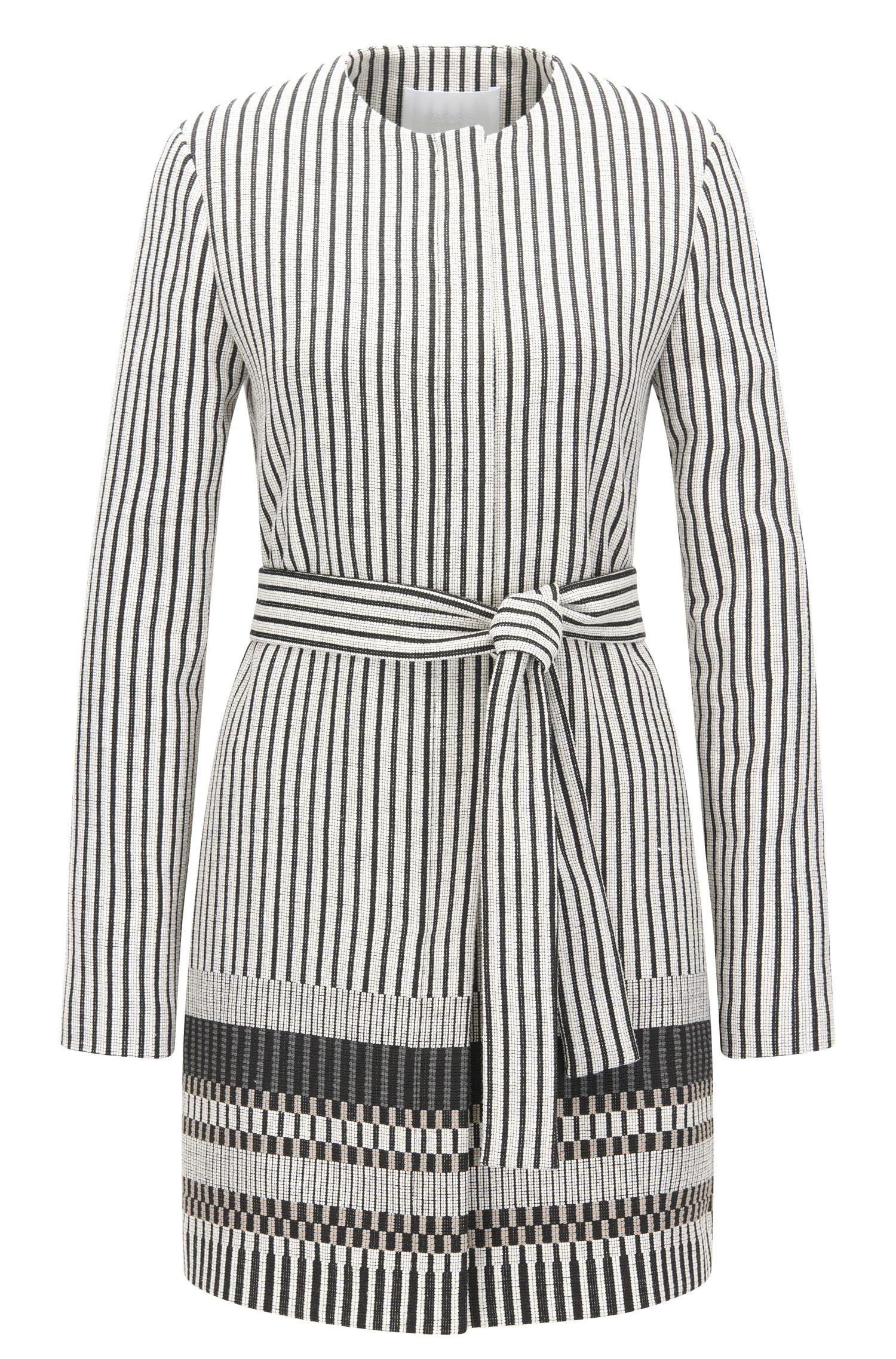'Cemala' | Cotton Blend Striped Coat