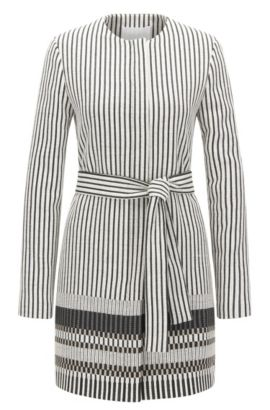 'Cemala' | Cotton Blend Striped Coat, Patterned