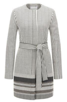 'Cemala' | Cotton Blend Striped Coat, Patterned
