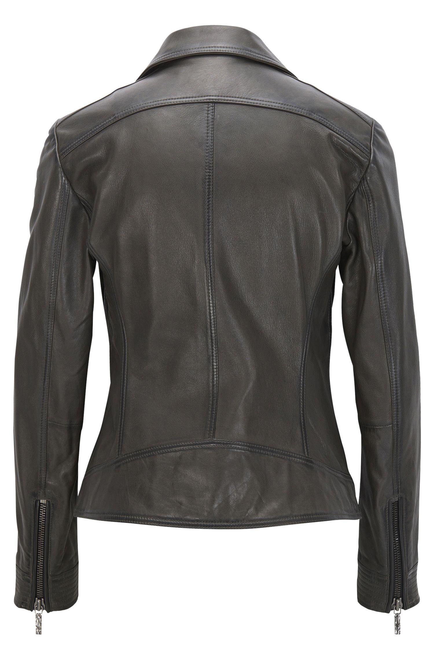 Sheepskin Leather Moto Jacket | Jamela