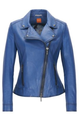 Sheepskin Leather Moto Jacket | Jamela, Blue
