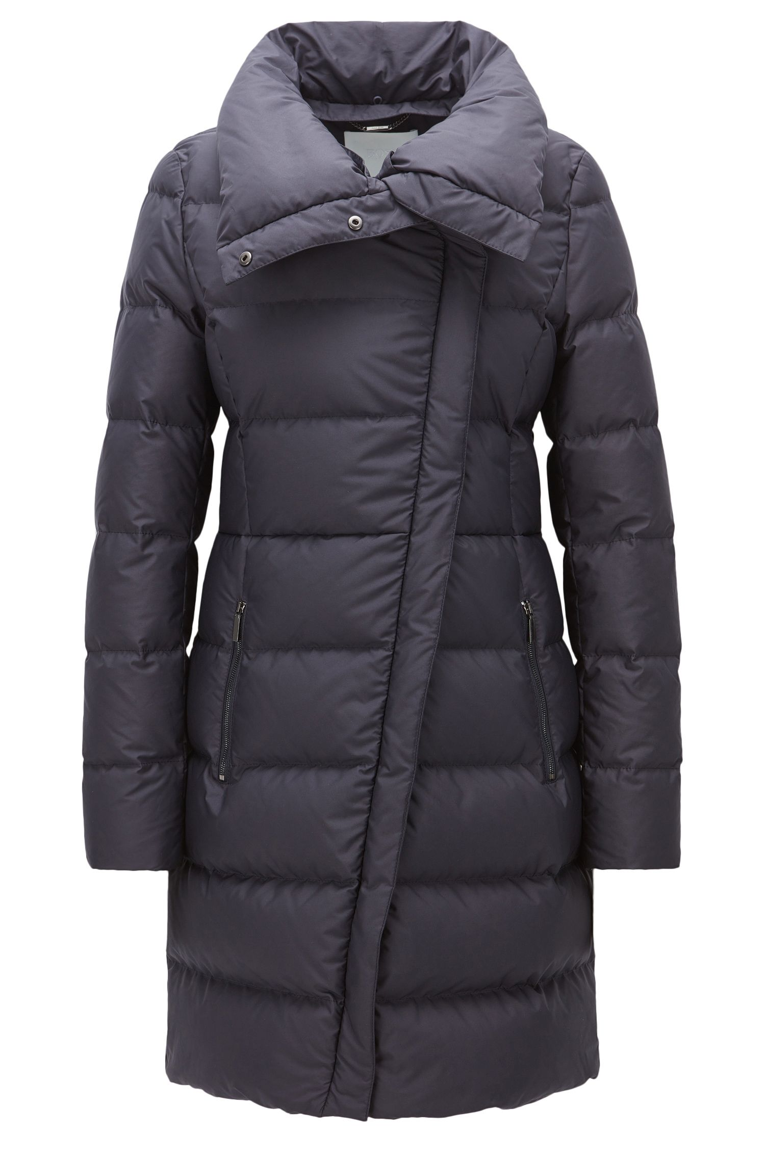 Fur-Lined Nylon Quilted Coat | Patalona, Open Blue