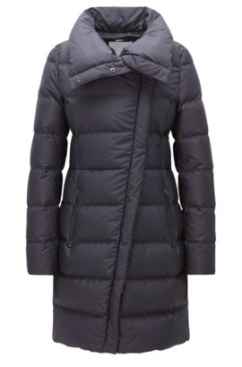 'Patalona' | Fur-Lined Nylon Quilted Coat, Open Blue